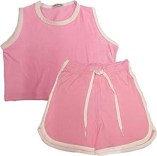 Kids Girls Short 100% Cotton Contrast Taped Summer Baby Pink Top & Hot Short Set