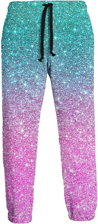 Men's Women's Sweatpants Sparkling Blue Pink Athletic Running Pants Workout Jogger Sports Pant