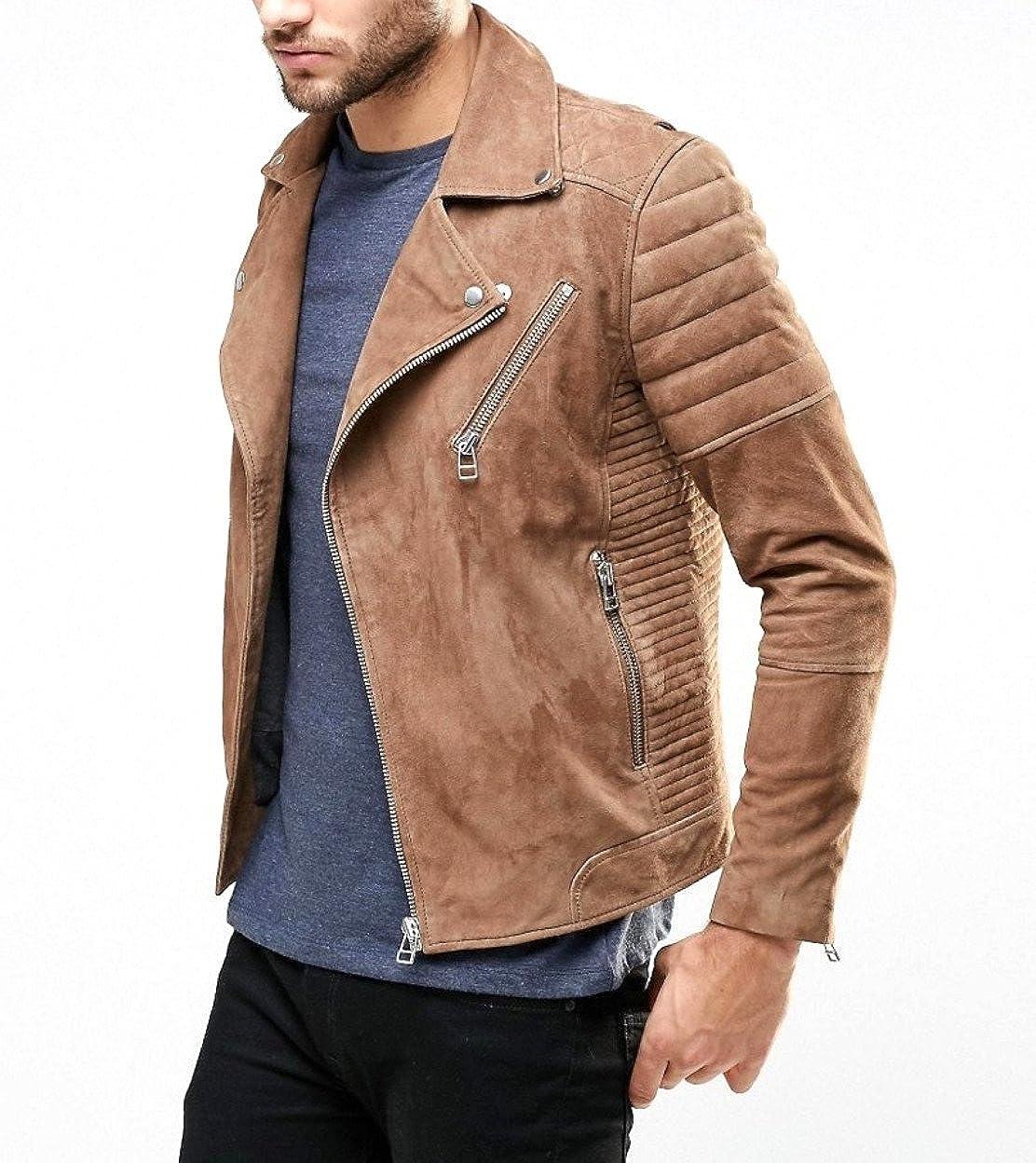 World of Leather Genuine Lambskin Suede Leather Jacket Biker Light Brown Moto
