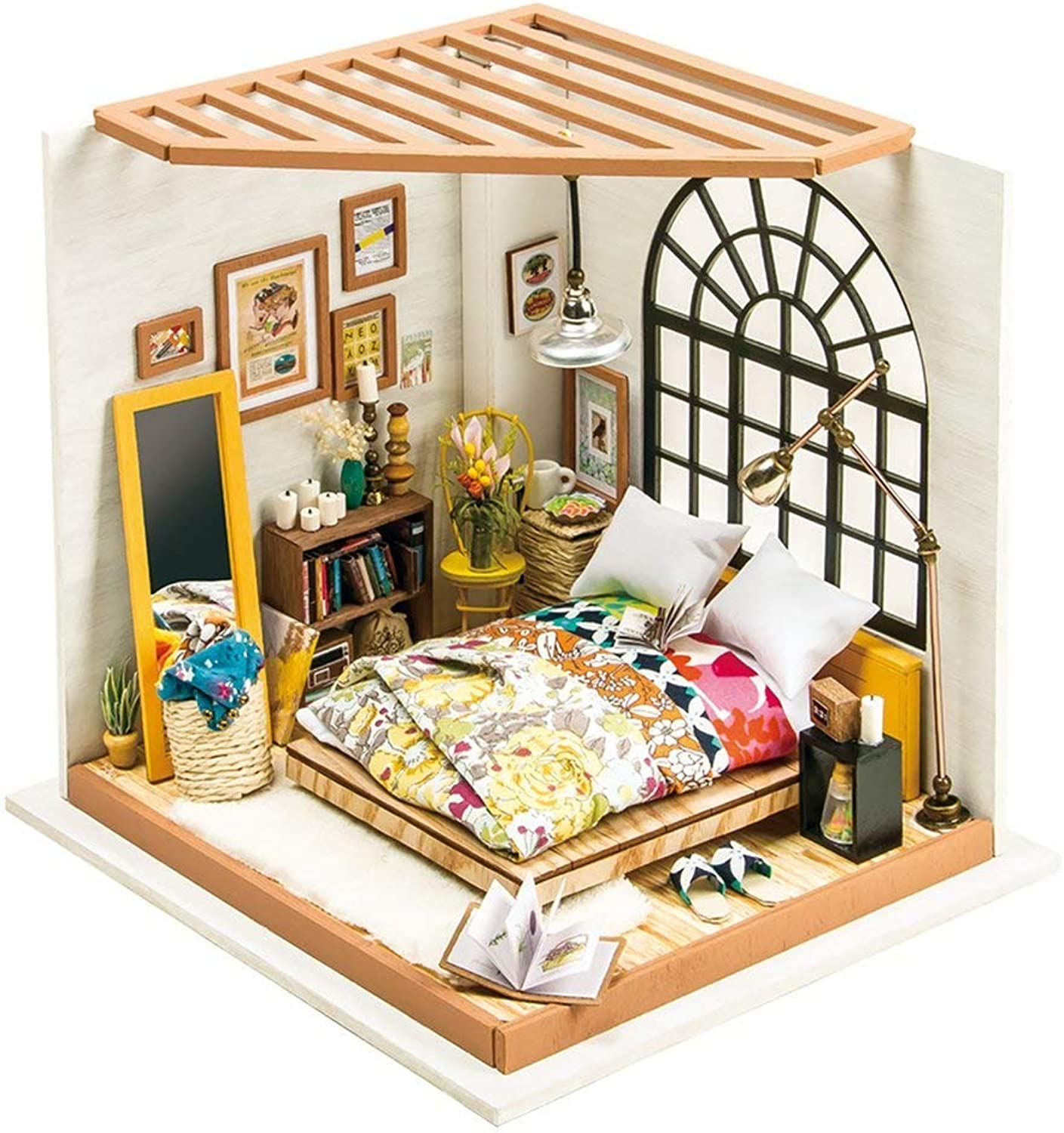 Doll House DIY Set Wooden Tool Bag Handmade Alice's Dreamy Bedroom Doll House Model Toy Suitable for Girls and Boys,187  203  184MM