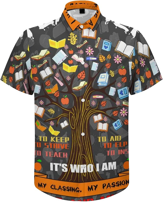 Mens Button Down Shirt Born to Be A Teacher Casual Summer Beach Shirts Tops