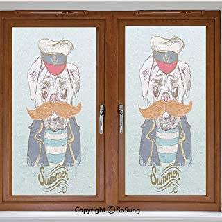 24x24 inch Decorative Window Privacy Film,Captain Dog with Hat Mustache Jacket and Shirt Cute Animal Funny Image Decorative Frosted Stained Window Clings Static Cling for Home Bedroom Office
