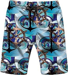 Sea Anchors Steering Wheels The Arts Anchor Mens Boardshorts Swim Trunks Quick-Drying Running Shorts