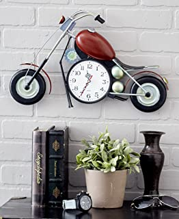 The Lakeside Collection Retro Wall-Hanging Motorcycle Clock - Home Decor for Motorcycle Enthusiasts