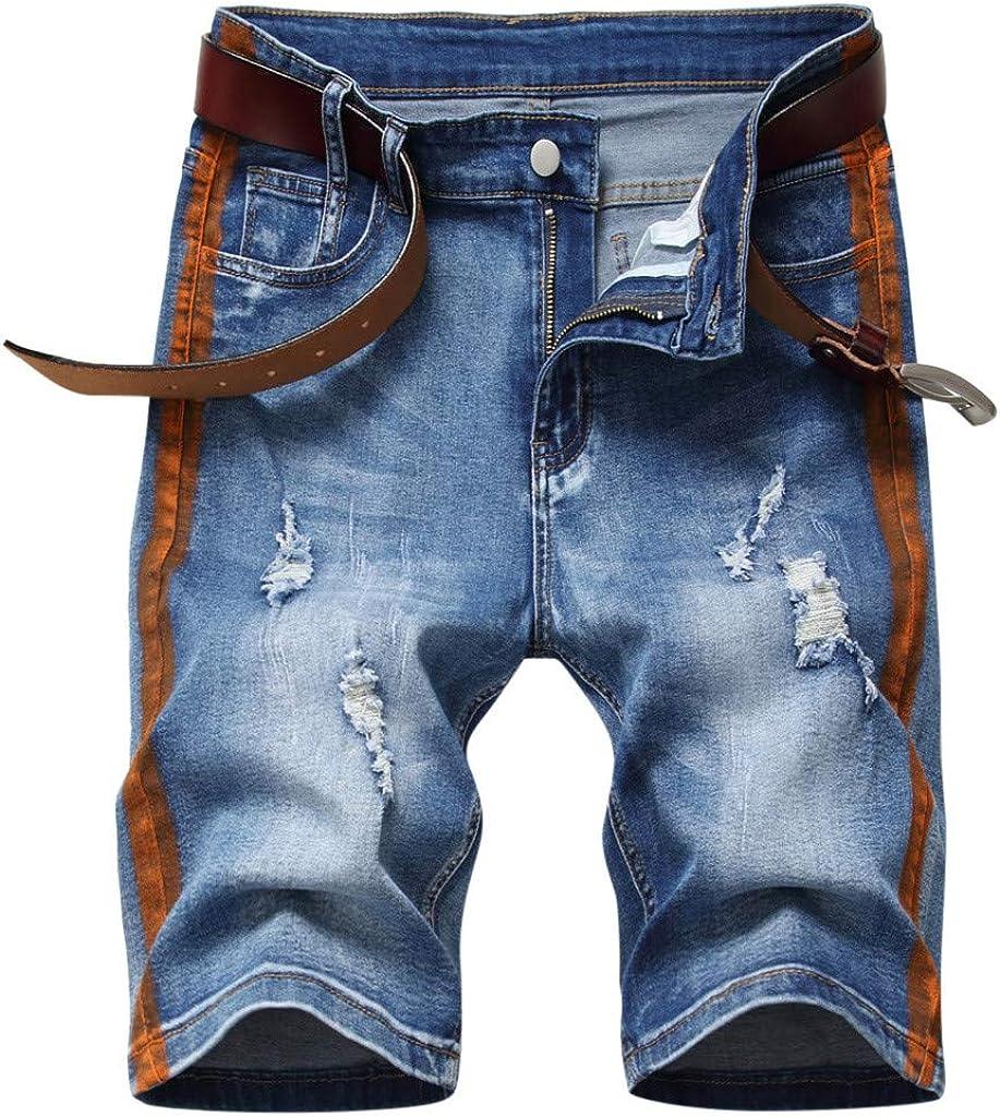 VEKDONE Men's Stretch Denim Bikers Shorts Fashion Ripped Short Jeans Big and Tall Summer Beach Shorts