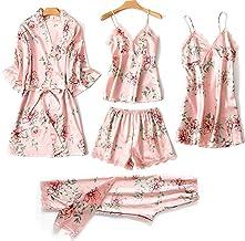 Kleding Satijnen pyjamaset voor dames, sexy nachthemd van kanten lingerie, vijfdelige casual pyjama voor thuisgebruik, pyj...