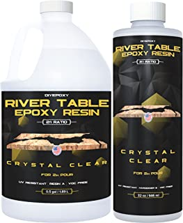 Epoxy Resin for River Table - 0.75 Gallon Kit - UV Resistant Crystal Clear Epoxy Resin Kit - 2:1 Ratio for Deep Pour, Deep...