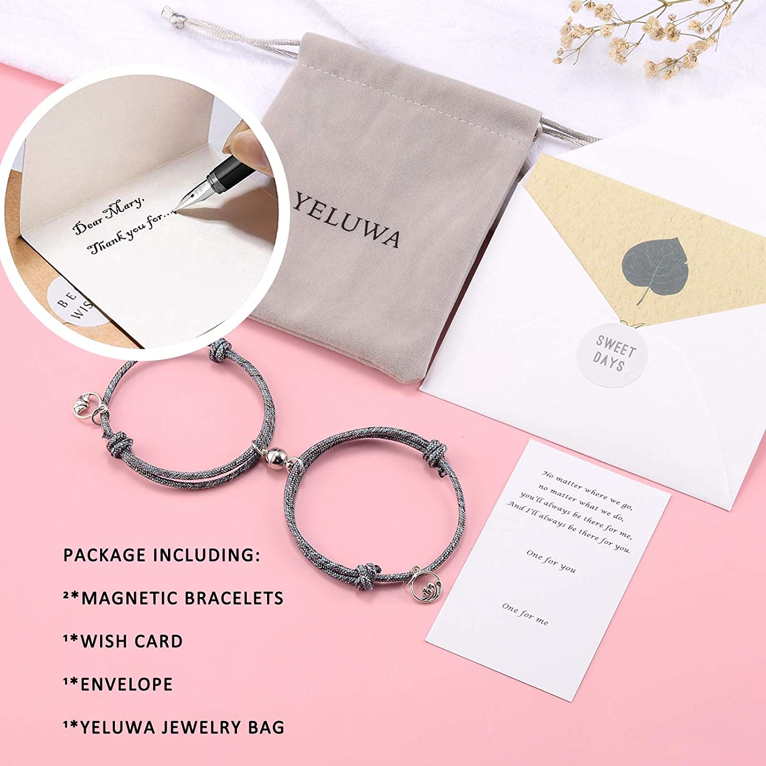 YELUWA 2Pcs Magnetic Distance Matching Rope Bracelets for Men Women Mutual Attraction Couple Boyfriend Girlfriend Mom Daughter Sister BFF Friendship Braided Gifts