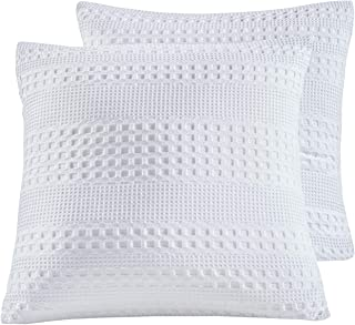 PHF Honeycomb Pillow Cover 100% Cotton Waffle Weave Euro Sham Cover 26
