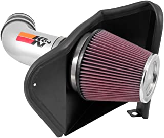 K&N Cold Air Intake Kit with Washable Air Filter:  2012-2019 Jeep Grand Cherokee and 2018 Dodge Durango, 6.4L V8, Polished Metal Finish with Red Oiled Filter, 77-1567KS