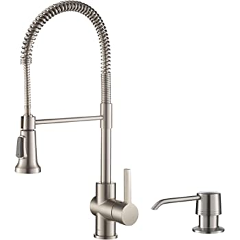 Kraus Kpf 1612 Ksd 30ss Single Lever Pull Down Kitchen Faucet Stainless Steel Finish And Soap Dispenser Amazon Com