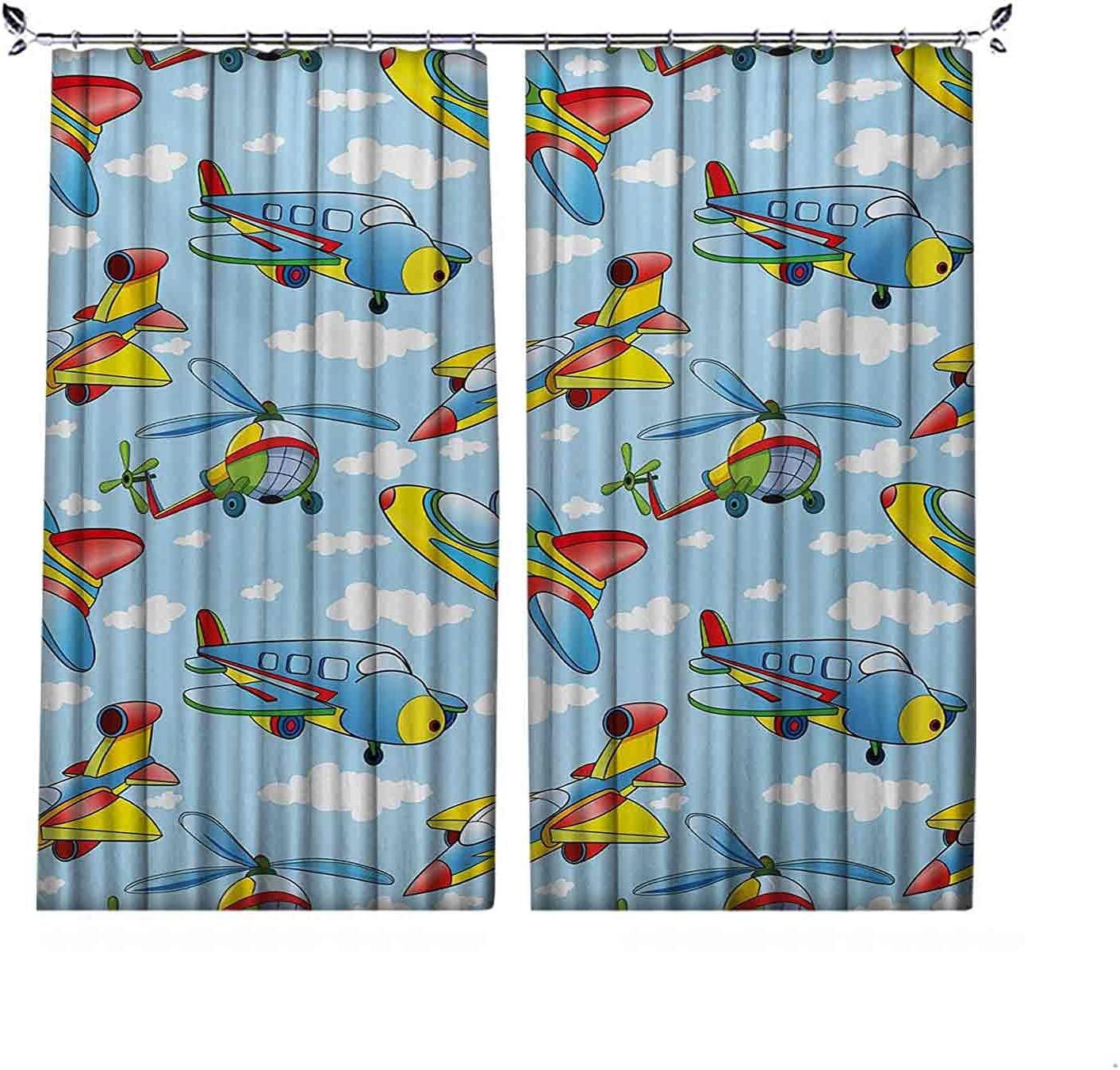 Room Darkening Kids Curtain Max 68% OFF Cartoon Planes and T Bargain sale Helicopters in
