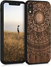 kwmobile Wooden Case Compatible with Apple iPhone XR - Hard Case with TPU Bumper - Indian Sun Dark Brown, Walnut