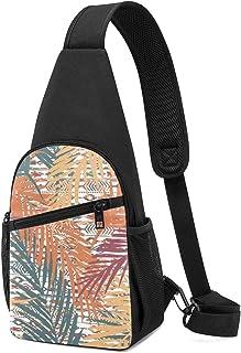 Bandolera de hombro ligera con patrón exótico sin costuras, con hojas de palma sobre fondo étnico, mochila de hombro, moch...