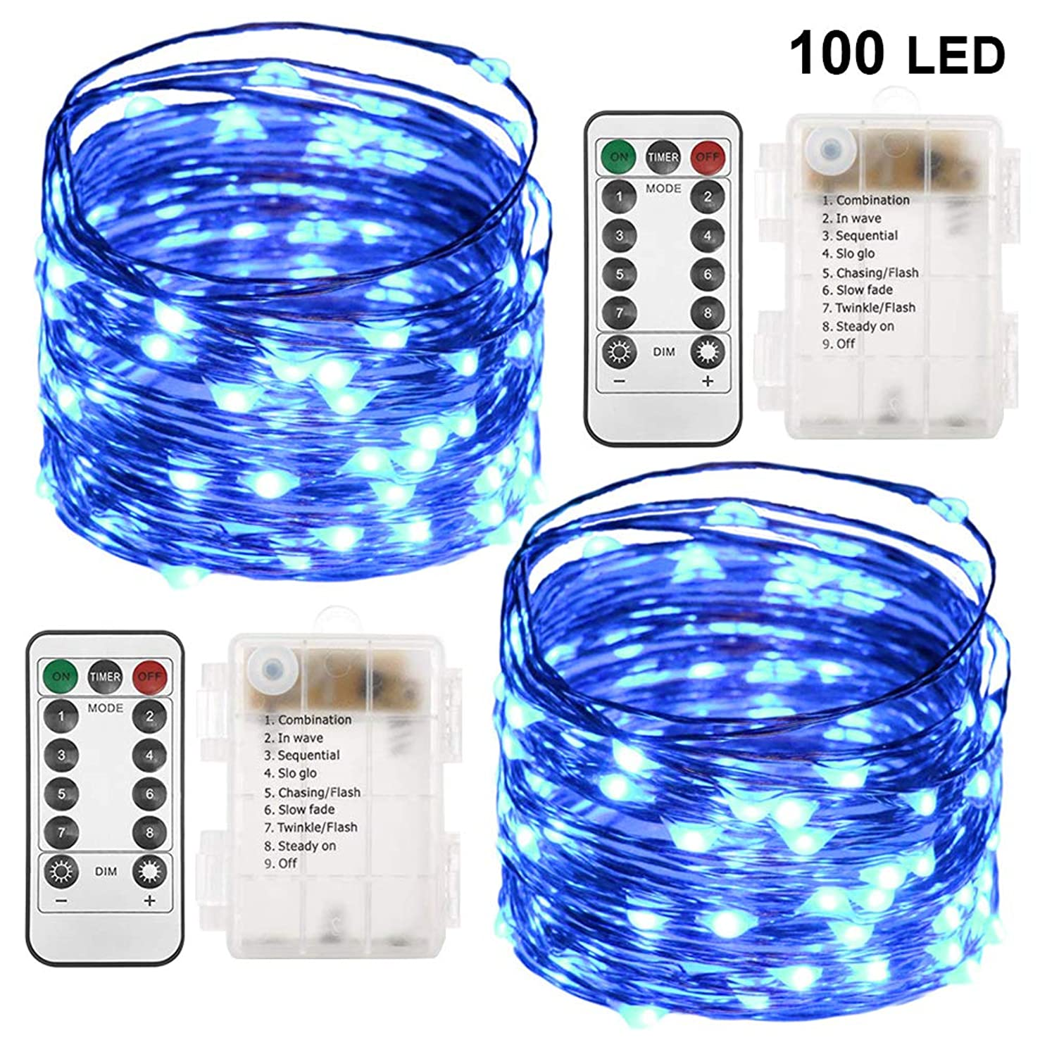 Twinkle Star 33FT 100 LED Copper Wire String Lights Fairy String Lights Battery Operated Waterproof 8 Modes LED String Lights with Remote Control Decor for Christmas Wedding Party Home, 2 Pack, Blue