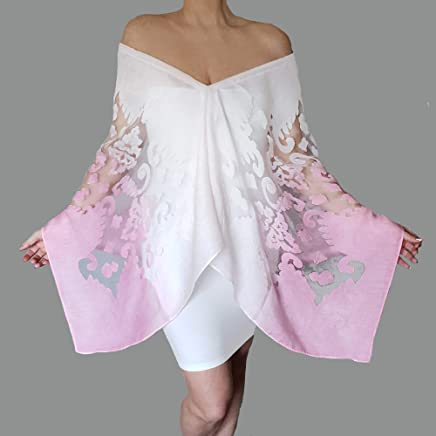 dc5c40a04ddba Plus Size Pink And White Ombre Shawl Summer Scarf Wrap By ZiiCi