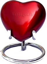 Vintage King Red Mini Heart Keepsake Urn with Stand & - Small Red Urn for Human Ashes - Honor Your Loved One with Crematio...