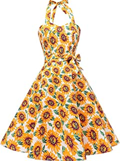 50b8f80252e Gyouanime Party Dress for Womens Sleeveless Printed Zipper Sunflower  Vintage Swing High-Waist Pleated Dress
