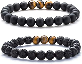 Hamoery Mens Women 8MM Anxiety Bead Bracelets Lava Rock Essential Oil Diffuser Yoga Bracelet Bangle