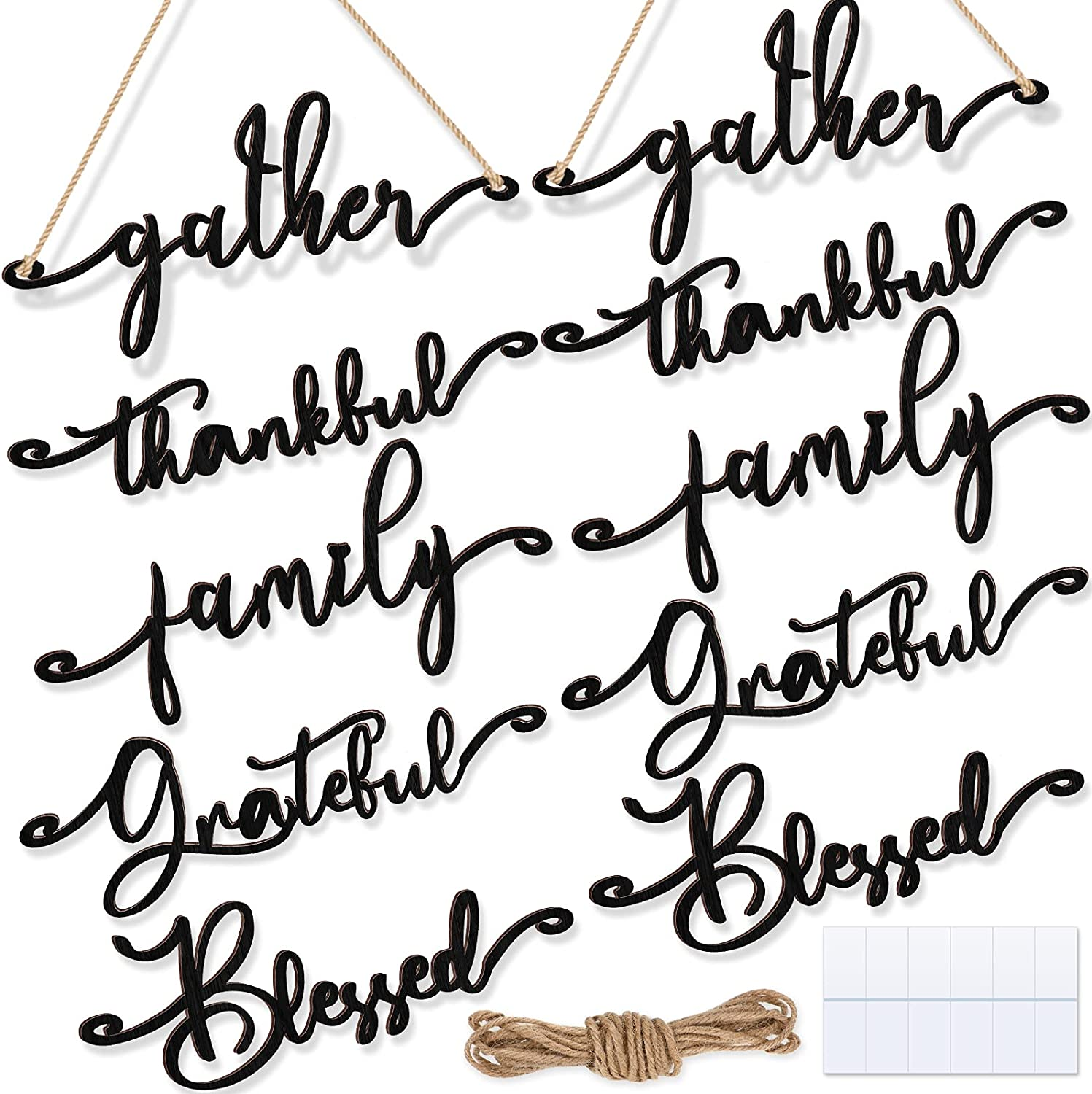 Set of 10 Wooden Cutout Letter Plate Ornaments Rustic Thankful Grateful Blessed Wood Sign Wall Decors Family Gather Cutout Art Table Decors for Home Thanksgiving Day Fall Reunion Dinner, Black