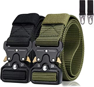 2 Pack Men Tactical Belt 1.5 Inch Heavy Duty Belt, BESTKEE Nylon Military Belt with Quick-Release Metal Buckle, Gift with ...