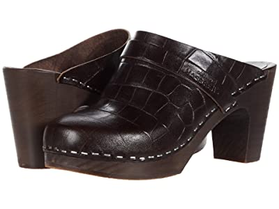 Swedish Hasbeens Slip In (Dark Brown Croc/Dark Brown Sole) Women