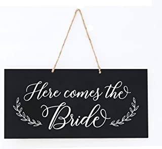 LifeSong Milestones Wedding Anniversary Engagement Decor Rope Signs for Reception and Ceremony for Bride and Groom Decorations (Here Comes The Bride)