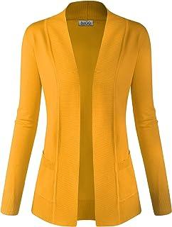 biadani Mujer Clásico Cuello Manga Larga Acanalado recortar suave Frente Abierto chaqueta de punto