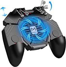 """Mobile Game Controller w/ L1R1 L2R2 Triggers [ 6 Finger ], PUBG/COD Mobile Controller w/Cooling Fan & 1200mAh Power Bank, Gaming Grip Joystick Gamepad, Shoot Aim Keys for 4.7-6.5"""" Android iOS Phone"""