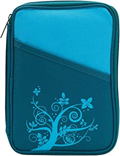 Turquoise Flower Branch Reinforced Polyester Bible Cover Case with Handle, Thinline