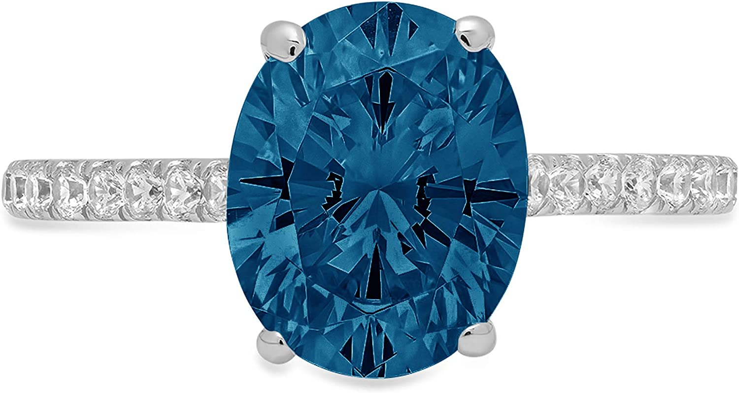 2.71ct Brilliant Oval Cut Solitaire with accent Natural London Blue Gemstone Ideal VVS1 Engagement Promise Anniversary Bridal Wedding Ring Real 14k White Gold