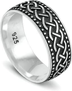 chimoda Mens Silver 9mm Band Ring with Celtic Knot Motif in 925 Sterling