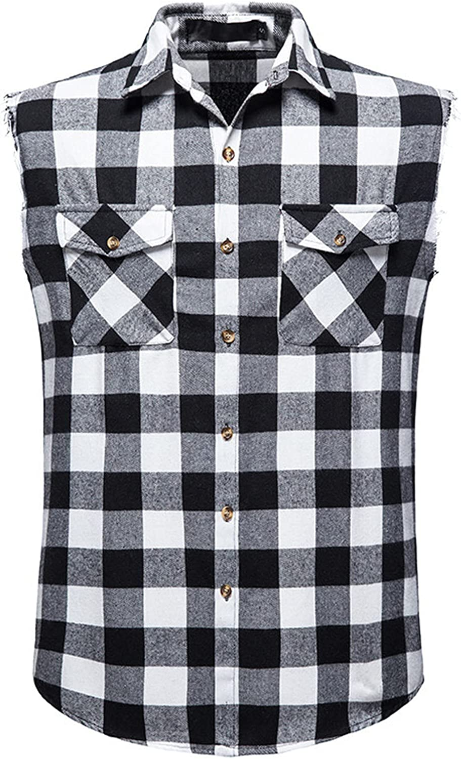 Clearance Mens Muscle Tank Top Cut Off Sleeveless Button Down Shirts Vintage Cowboy Plaid Flannel Vest with Pocket