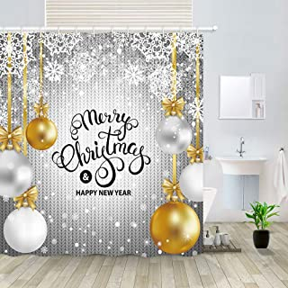DYMH Merry Christmas Shower Curtain, Gold White Silver Balls Snowflakes and Knitted Wool Happy New Year, Fabric Bathroom Decor, Bath Curtains Accessories with 12Hooks, 69X70IN