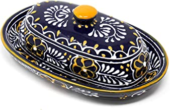 Global Crafts Encantada Handmade Hand-Painted Authentic Mexican Pottery, Butter Dish with Lid, Blue Helecho