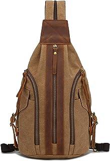 Canvas Sling Bag - Crossbody Rucksack Schulter Casual Daypack Rucksack Brusttasche für Herren Damen Outdoor Radfahren Wand...