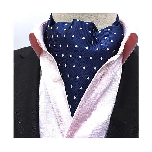 865ec8376163 Secdtie Men's Polka Dot Plaid Silk Cravat Ties Jacquard Woven Casual Ascot