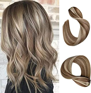Labetti Clip in Hair Extensions Brown with Blonde Highlights Human Hair 7 Pieces 70g Per Set Silky Straight Weft Remy Real Hair (18 Inches, #6-613)