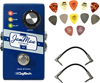 Digitech JMEXTV JamMan Express XT Compact Stereo Looper Pedal Bundle with 2 Patch Cables and Dunlop Pick Pack
