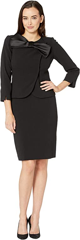 Pebble Crepe Skirt Suit with Bow Detail