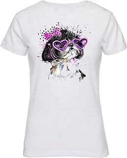 comprar comparacion Romens Ltd Mujer Blanco T-Shirt Mangas Cortas Animales Perro Dulce,Gato,Gatito