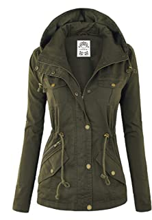 Made By Johnny WJC643 Womens Pop of Color Parka Jacket XXL Olive