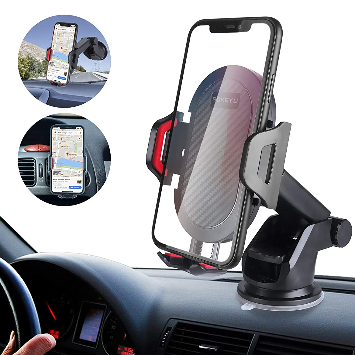 BOKEYU Car Phone Mount Dashboard Windshield Air Vent Cell Phone Holder for Car Strong Sticky Suction Cup Adjustable Long Arm One Button Release Perfect for 4-6.7'' Smartphones