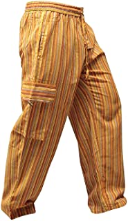 SHOPOHOLIC FASHION Pantalones hippy de bolsillo lateral de pierna ancha a rayas multicolor Para unisex Adultos