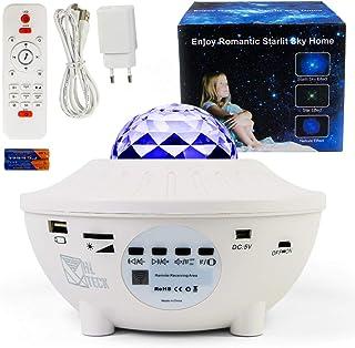 Projecteur Ciel Étoilé avec Enceinte Bluetooth, Veuilleuse Musicale et Lumineuse, Lampe Galaxie à LED Couleurs, 21 Jeux de...