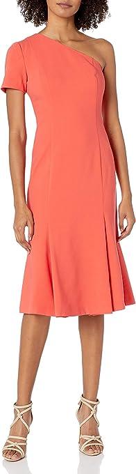 Black Halo Womens 3599794 Joyce One Shoulder Dress Short-Sleeve Dress - Pink
