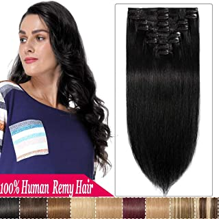 S-noilite 100% Human Remy Hair Clip in on Hair Extensions Standard Weft Full Head 8 Pieces 18 Clips Grade 7A Silky Soft Straight Real Human Hair Weft For women 13 inch #1 Jet Black