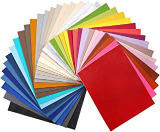 """Sntieecr 36 Pieces Assorted Colors PU Leather Fabric Sheets, Litchi Fabric Cotton Back 8.3"""" x 6.3"""" (21cm x 16cm) for Making Bags, Hair Bow, Craft Sewing"""