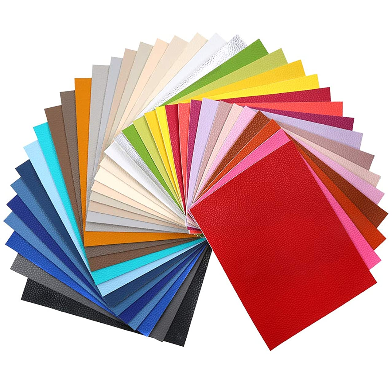 "Sntieecr 36 Pieces Assorted Colors PU Leather Fabric Sheets, Litchi Fabric Cotton Back 8.3"" x 6.3"" (21cm x 16cm) for Making Bags, Hair Bow, Craft Sewing"