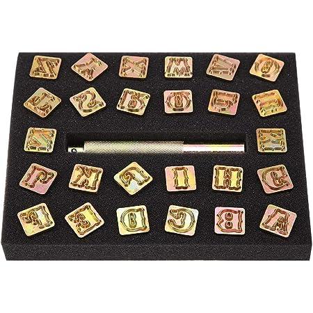 26Pcs Tampon lettre, Lettre Timbres Outils De Poinçon, Lettres Outils De Poinçon Imprimés pour Sac De Ceinture Chaussures Artisanat Marquage